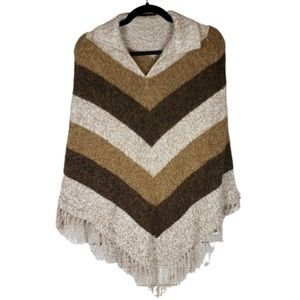 Jackets & Blazers - Brown Fringe Poncho Cape Knit Sweater